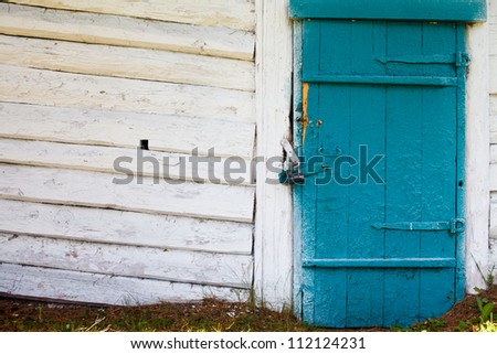 old building in the camp closed after the summer season - stock photo