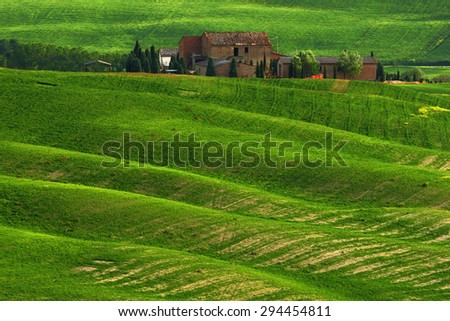 Old building in the spring green field - stock photo