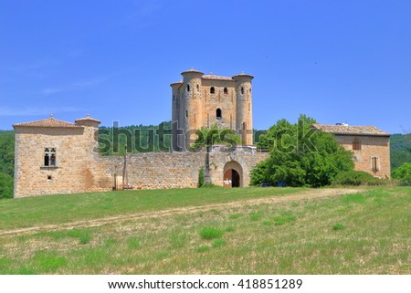 Old building of a medieval castle in Arques village, Aude, Languedoc-Roussillon, France