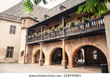 Old building on the streets of Colmar, France. - stock photo