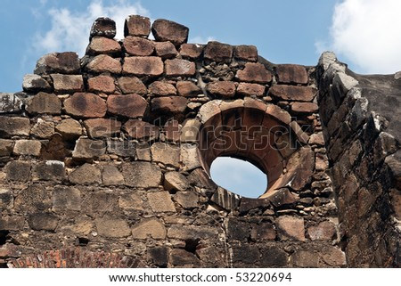 Old building ruins in Old Panama City - stock photo