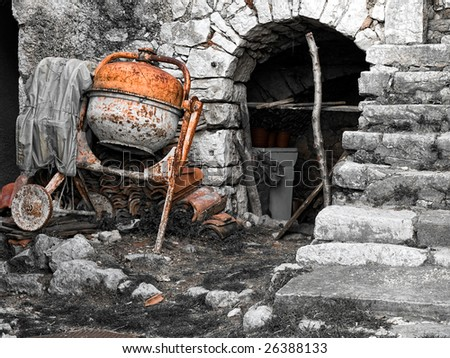 Old building site with even older tools. - stock photo