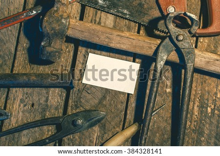 Old building tools composition  on a wooden desk, mockup  on a wooden desk, mockup, close up - stock photo