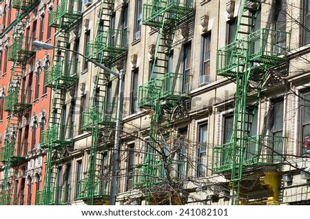 Old building with fire escape, New York City, USA - stock photo