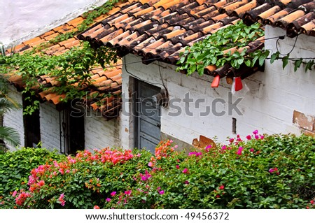 Old building with red tile roofs in Puerto Vallarta, Jalisco, Mexico - stock photo