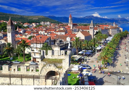 Old buildings and Romanesque churches from the old town of Trogir, Croatia - stock photo