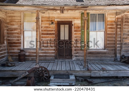 Old buildings at ghost town Bodie State Park, California - stock photo