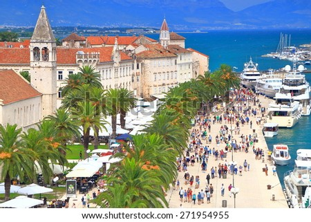 Old buildings from Venetian town of Trogir near the Adriatic sea, Croatia - stock photo