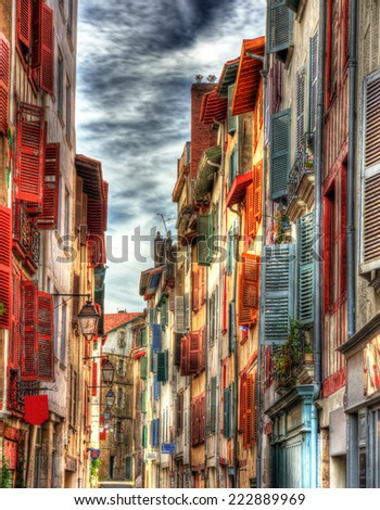 Old buildings in Bayonne town - France, Aquitaine - stock photo