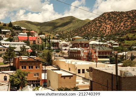 Old buildings in historic 1900s copper mining town, Bisbee, Arizona, USA/Historical Copper Mining Town, Bisbee, Arizona, USA/Vintage buildings and landmarks in Bisbee, Arizona, USA - stock photo