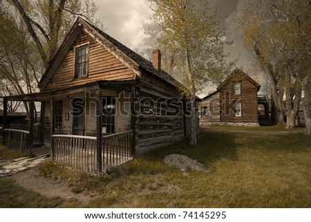 Old buildings in historic town Nevada City, MOntana, USA - stock photo