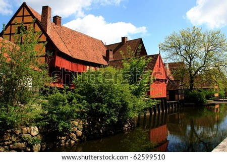 """Old buildings in the Old Town """"Den Gamle By"""", , Aarhus, Denmark - stock photo"""