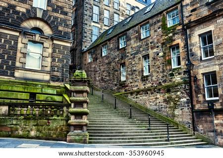Old buildings of historical part of Edinburgh, Scotland - stock photo