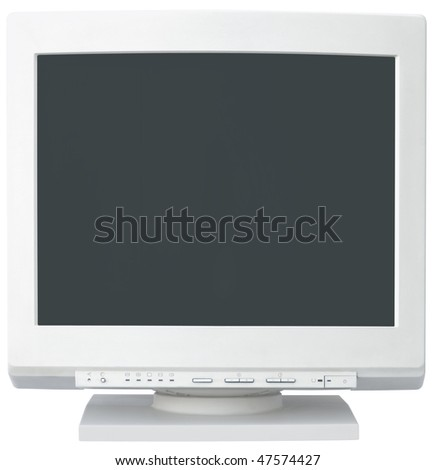 Old bulb computer monitor isolated with clipping path inside and outside - stock photo