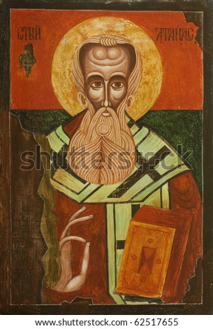 Old Bulgarian Icon of Saint Athanasius the Great of Alexandria, one of the four Doctors of the Church. Greek patriarch of Alexandria who championed Christian orthodoxy against Arianism (293-373) - stock photo