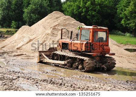 old bulldozer - stock photo