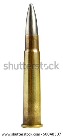 old bullet isolated on white - stock photo