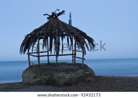 old bungalow, which was destroyed after a storm. - stock photo
