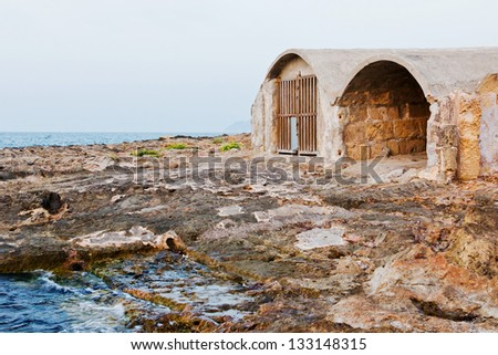 Old bunker on the beach in Spain
