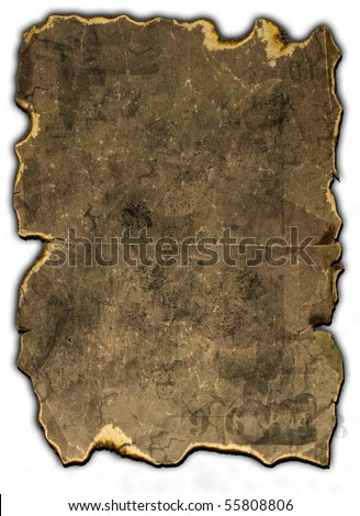 old burned paper on white - stock photo