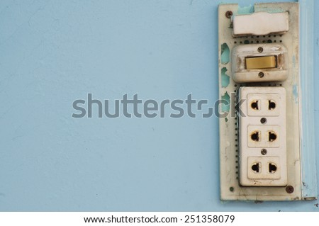 Old burned plug socket with room for text