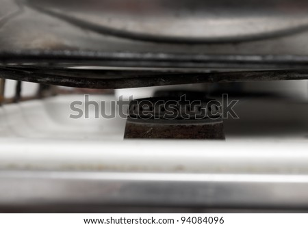 old burner on a gas cooker - stock photo