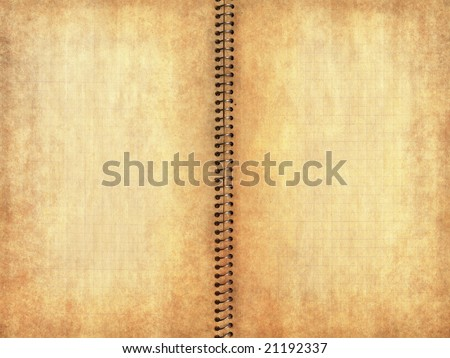 Old burnt and yellowed grunge notebook page - stock photo