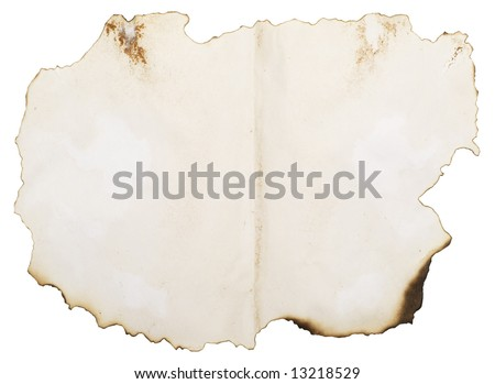 old burnt paper isolated on white with copyspace for your text or image