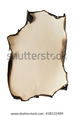 Old burnt paper with fire damaged edges isolated on white background. Blank for text or images. Empty copy space. - stock photo