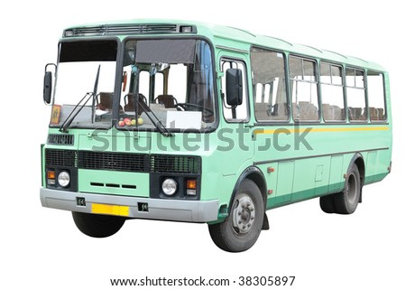 old bus under the white background - stock photo