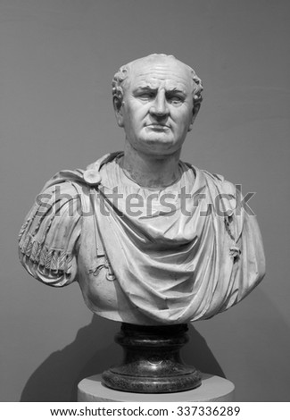 Old Bust of Vespasian.He was Roman Emperor from AD 69 to AD 79. Vespasian founded the Flavian dynasty that ruled the Empire for a quarter century. - stock photo
