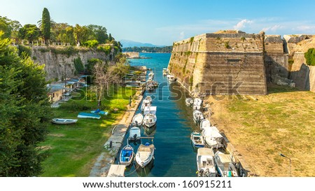 Old Byzantine fortress in Corfu, canal view - Greece - stock photo