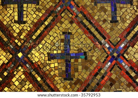 Old Byzantine style glass with gold mosaic tiles - stock photo