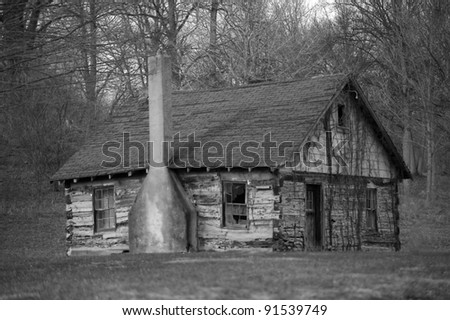 Old Cabin in Rual Indiana - stock photo