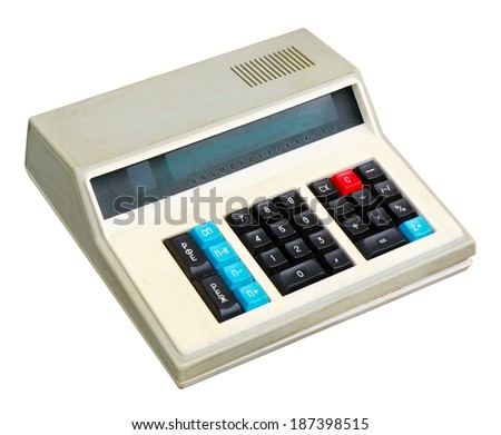 Old calculator isolated on white. Clipping path included. - stock photo
