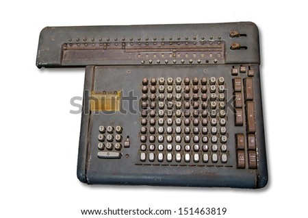 Old calculator machine  isolated on white background
