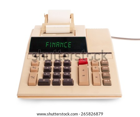 Old calculator showing a text on display - finance - stock photo