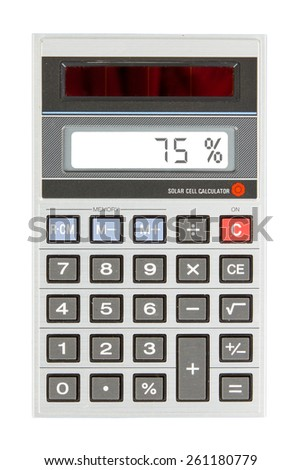 Old calculator with digital display showing a percentage - percent - stock photo