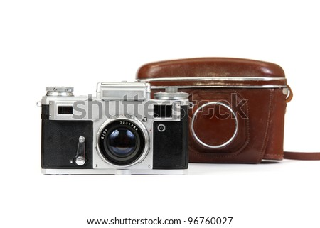 old camera and case. On  white background. - stock photo