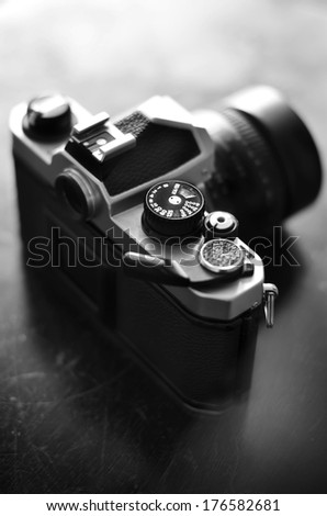 Old camera and lens for photography art - stock photo