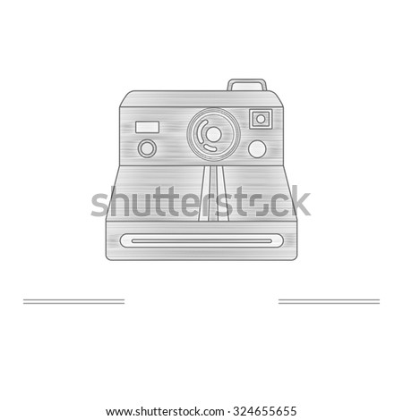 Old camera - branding identity element, isolated on white background. Logo design concept. Isolated high quality graphic design concept with place for your text. Raster version. - stock photo