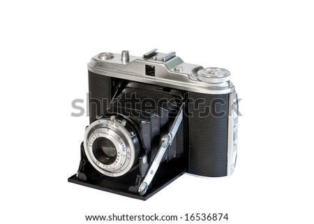old camera isolated against a white background