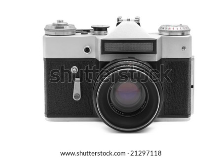 Old camera isolated over white background - stock photo