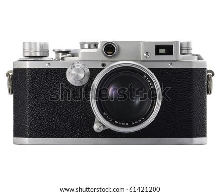 Old camera on isolated white - stock photo