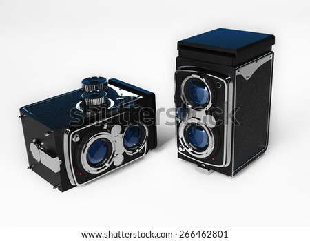 Old camera vintage on a white background - stock photo