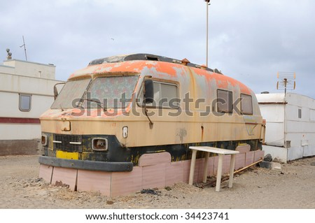 Old camper in a trailer park. Fuerteventura, Canary Islands Spain - stock photo