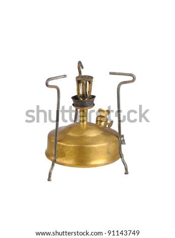 Old camping stove primus on white  background - stock photo