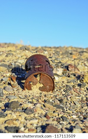 Old can left for waste - stock photo