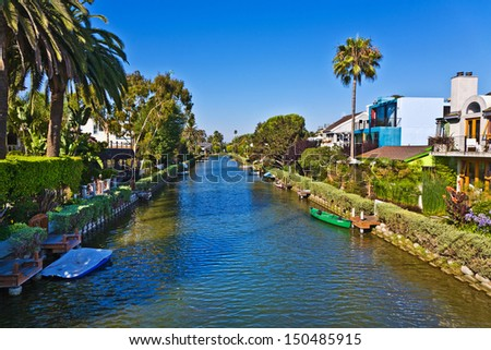 old canals of Venice, build by Abbot Kinney in California, beautiful living area - stock photo