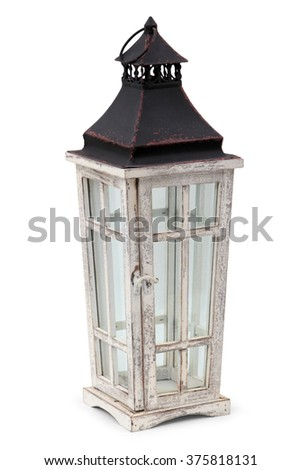 Old candle lamp isolate on white background - stock photo